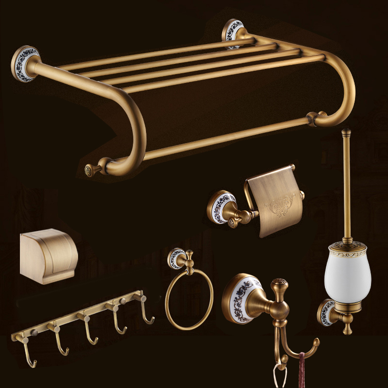 Free Shipping Antique Brass Bath Hardware Sets Wall Mounted Bathroom Accessory Paper Holder Toilet & Toothbrush Holder(China (Mainland))