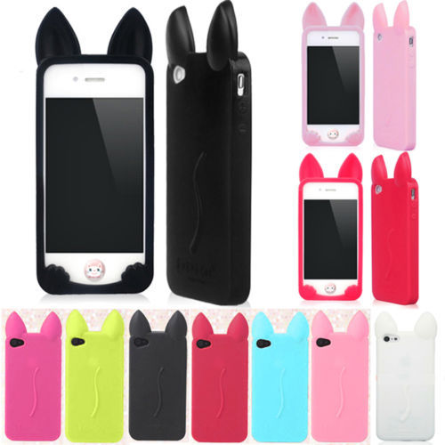 Lovely 3D Cute Cat Ear Cartoon Soft Silicon Case Phone Cases For iPhone 4 4S # C1017(China (Mainland))