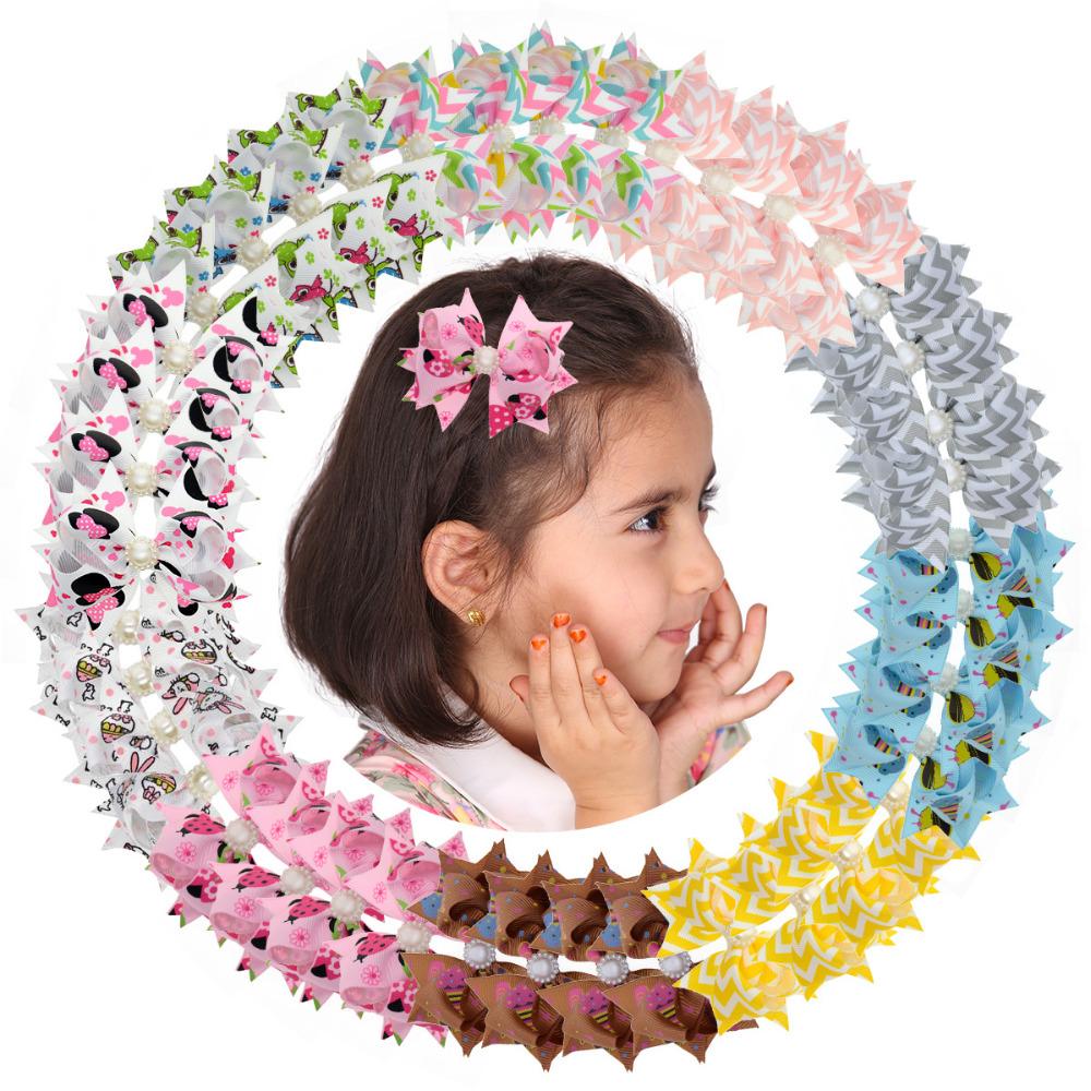 """40pcs 3"""" Kawaii Children Hair Clip Kids BB Hair Pin Baby Girl Character Ribbon Hair Bow Clips Boutique Hair Accessories 2XC1879"""