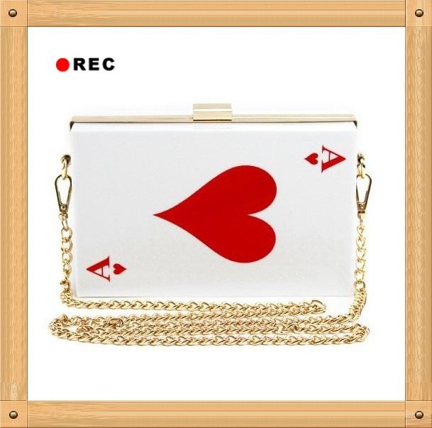 NEW Poker Clear Acrylic Women Evening Clutch Famous Brand Designer Chain mini Shoulder Bag purses and handbags Bolsas femininas(China (Mainland))