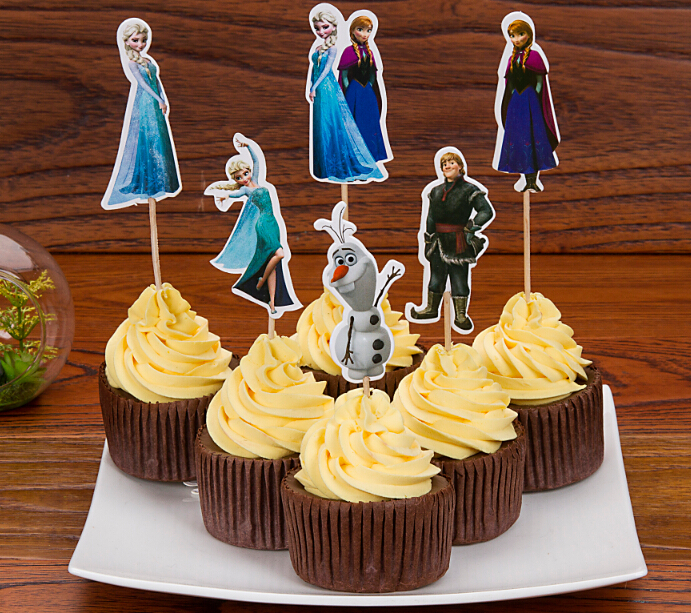 72pcs/lot Snow Queen Elsa Anna Cupcake Toppers Picks,kids birthday event party Decorations,Elsa Princess Anna Olaf Toppers Picks(China (Mainland))
