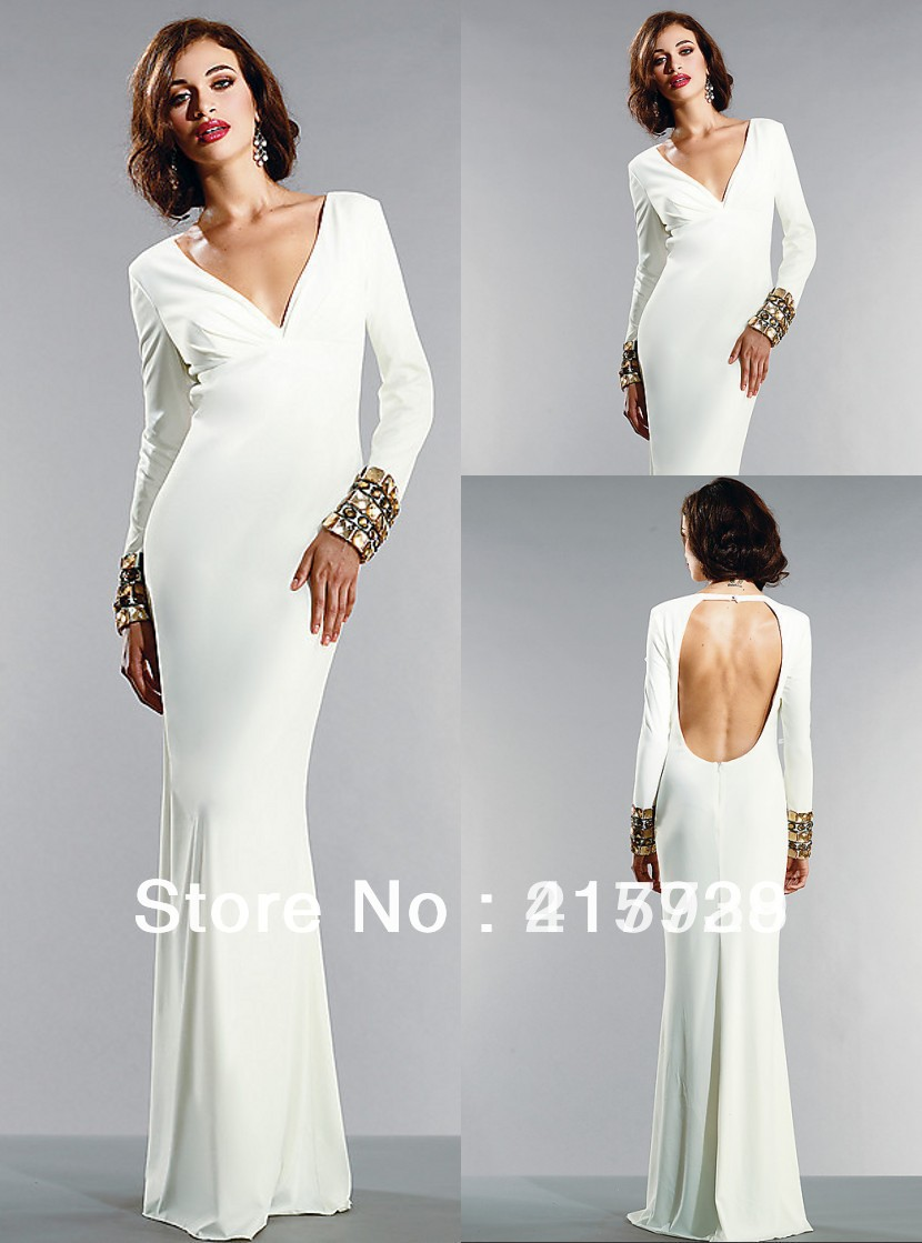 Free Shipping Elegant Floor-length Simple V neck Prom Evening Party Dress Gown Custom Available WL086(China (Mainland))