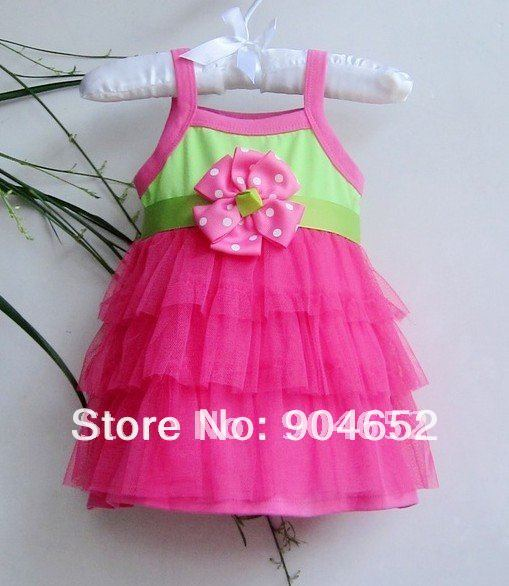 2014 dress baby girl's branded design Summer cute  pink chiffon cake princess party dresses free shipping
