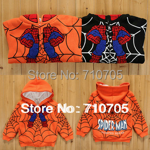 Free shipping children outerwear Children's Apparel Girls Boys Jacket Thick sweater coat Spiderman Pattern 100% Cotton(China (Mainland))