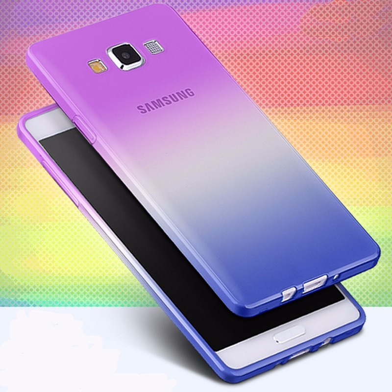 Fashion Soft TPU Gradient Color Back Cover Case+Tempered Glass Film for Samsung Galaxy A3 A5 A7 2016 J1 J3 J5 J7 S3 S4 S5 S6 S7