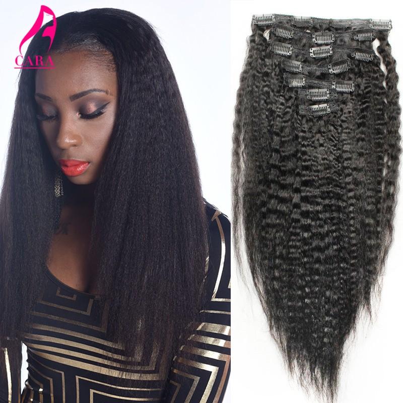 Kinky Straight Clip In Human Hair Extensions 10″-26″ Brazilian Virgin Hair Clip Ins Italian Yaki Human Hair Clip In Extensions