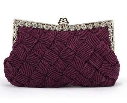 8 Colors Wedding Bridal Red Satin Handbag Women Woven Evening Bag Metal Frame Crystal Clutches Handbags Bridesmaid Clutch Purse(China (Mainland))