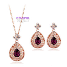 Italina Rigant gold plated purple  Crystal Necklace Earrings Jewelry Set for women and girl made with Austria Rhinestone(China (Mainland))