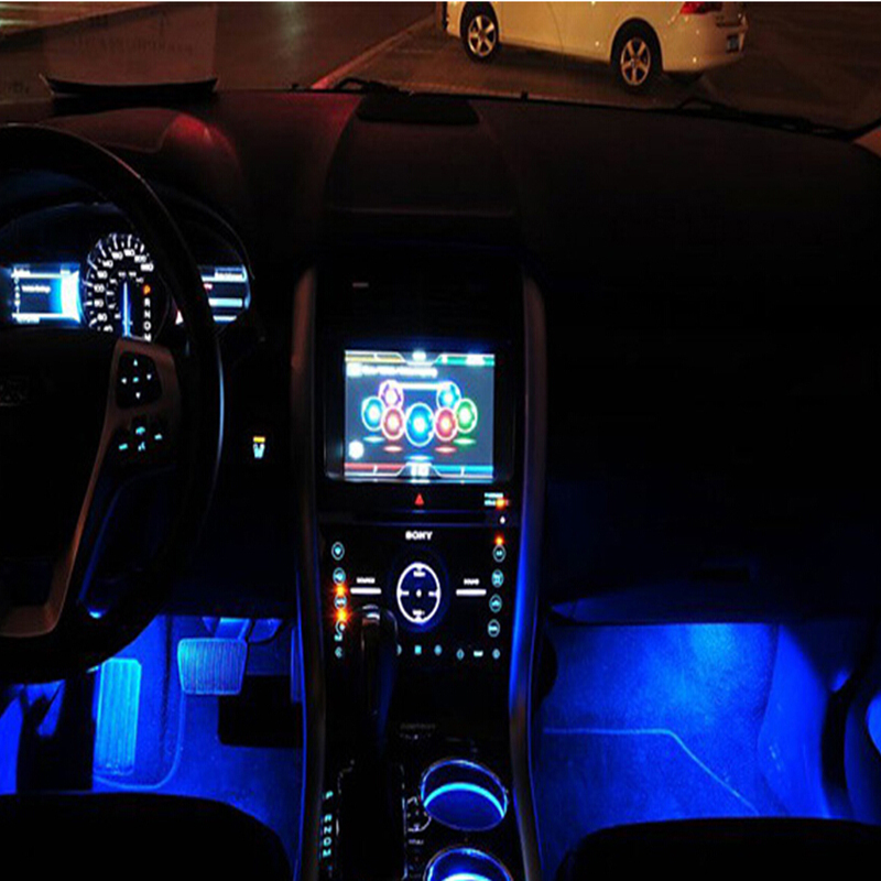 Blue led car charge glow interior decorative lamp neon for Led pour interieur voiture