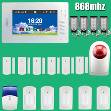 Smart 7 Inch Touch Screen Wireless GSM Alarm System Security Home Burglar Intelligent 868MHz, Wireless outdoor Flash Siren