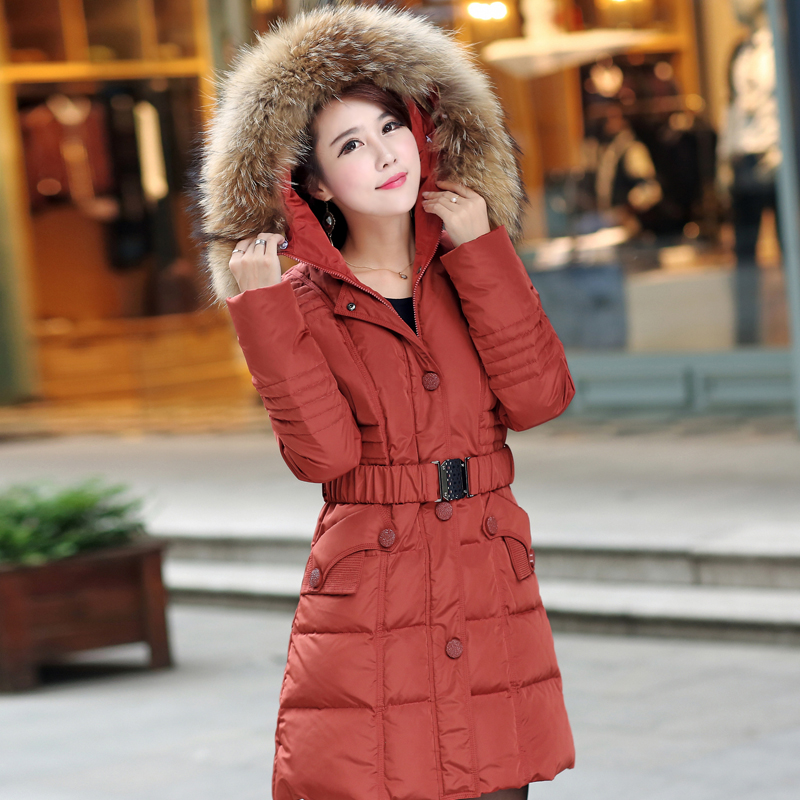 Free shipping 2016 plus size clothing winter medium-long thickening orange down coat outerwear L-5XL for 105kg(China (Mainland))