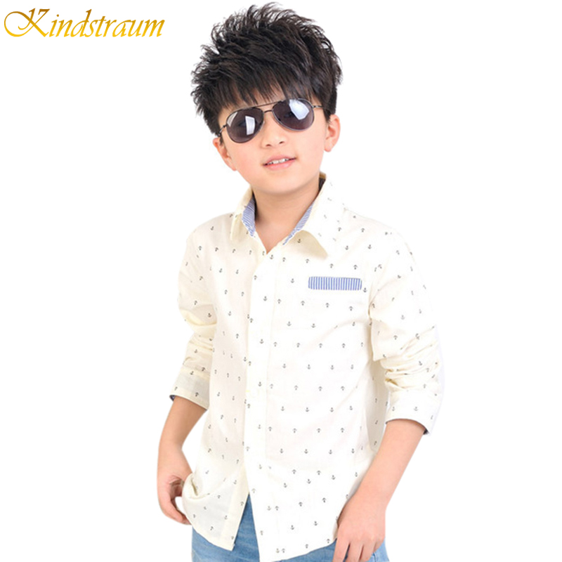 2016 NEW boys autumn long sleeve shirts dot print children casual dress beige & navy colors boy formal clothing, C237 - Rising Kid store