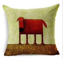 Red Dog Cotton Linen Pillowcase