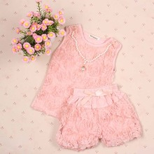 New Summer Girl Kids Lace Flower Shorts Outfit Pearl Necklace Vest + Bow Rose Underwear(China (Mainland))