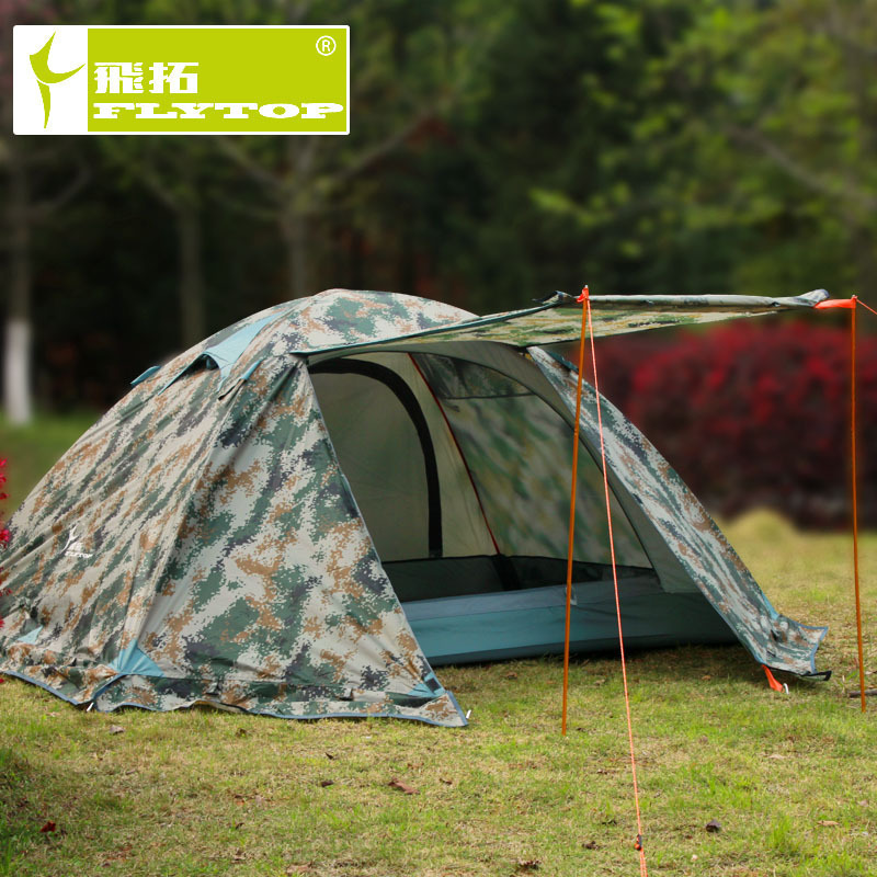 Flytop camouflage waterproof 2 person 4 season aluminum alloy rod hiking mountaineering outdoor camping tent with