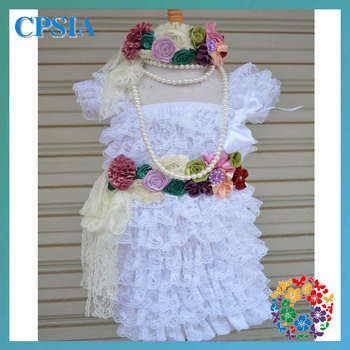 kids beautiful model dresses vintage lace dress with match wasit belt & headband& pearl necklacechildren frocks design 24set/lot