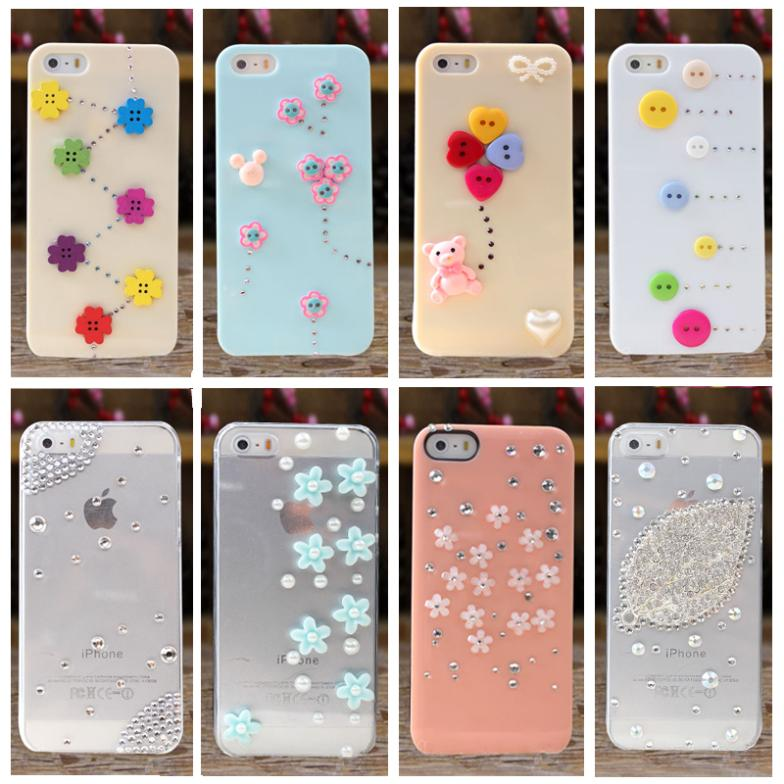 New 2014 Diamond case for iPhone 4 4s case for iPhone 5 5s phone bag Rhinestone case Mobile Border Protection 10 color(China (Mainland))