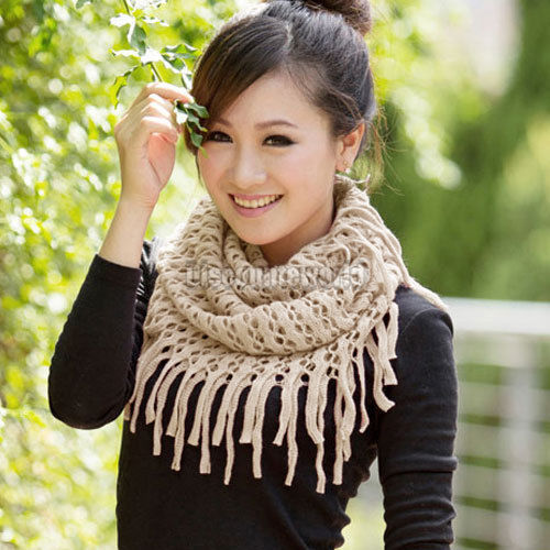 2015 Fashion Women Winter Warm Knit Wool Snood Scarf Cowl Neck Circle Shawl Wrap fx251 Free