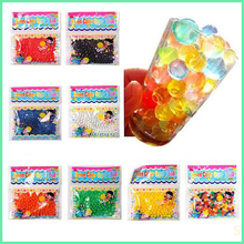 12bag/lot, 1200 particles Pearl shaped Crystal Soil Water Beads Mud Grow Magic Jelly balls Soilless cultivation planting(China (Mainland))