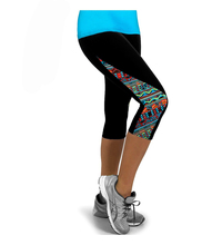 2015 Capri Leggings New Arrival Floral High Waisted Patch Work Workout Fitness Sports Legging Pant Exercise