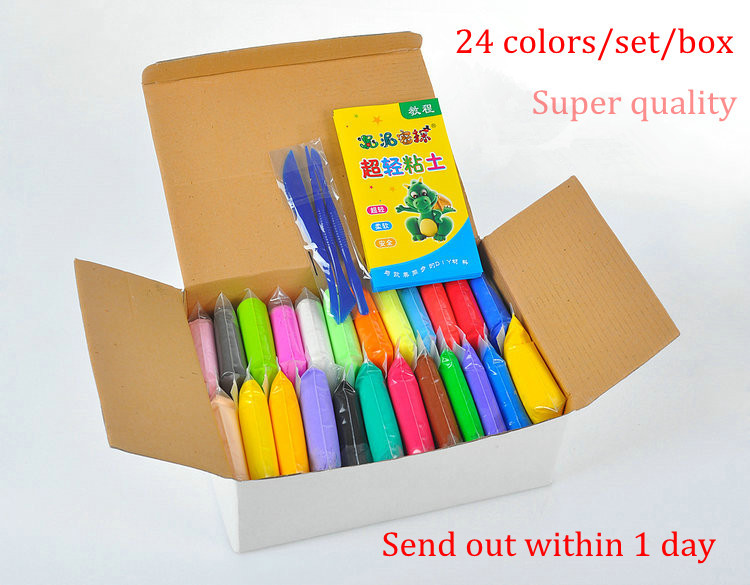 Free Shipping,Colorful Soft Polymer Modelling Clay 24colors /set/box with tools good package(China (Mainland))