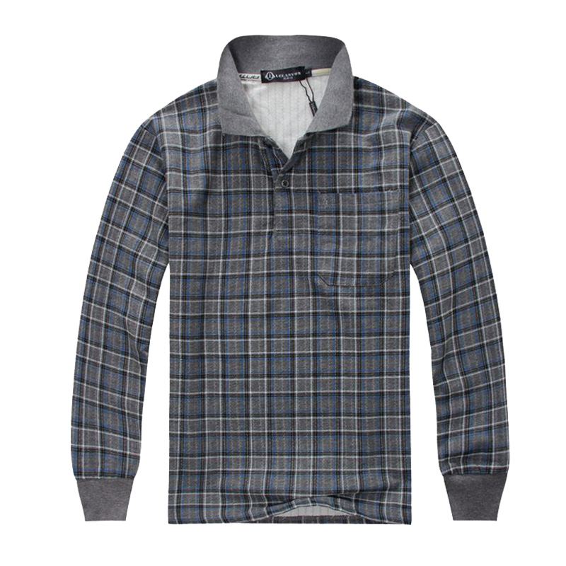 Cool Day Men's Fashion Polo Shirts Cotton long sleeve Men Plaid Solid Polo Tee with Male Golf Office Outdoor Polo Clothes 25(China (Mainland))
