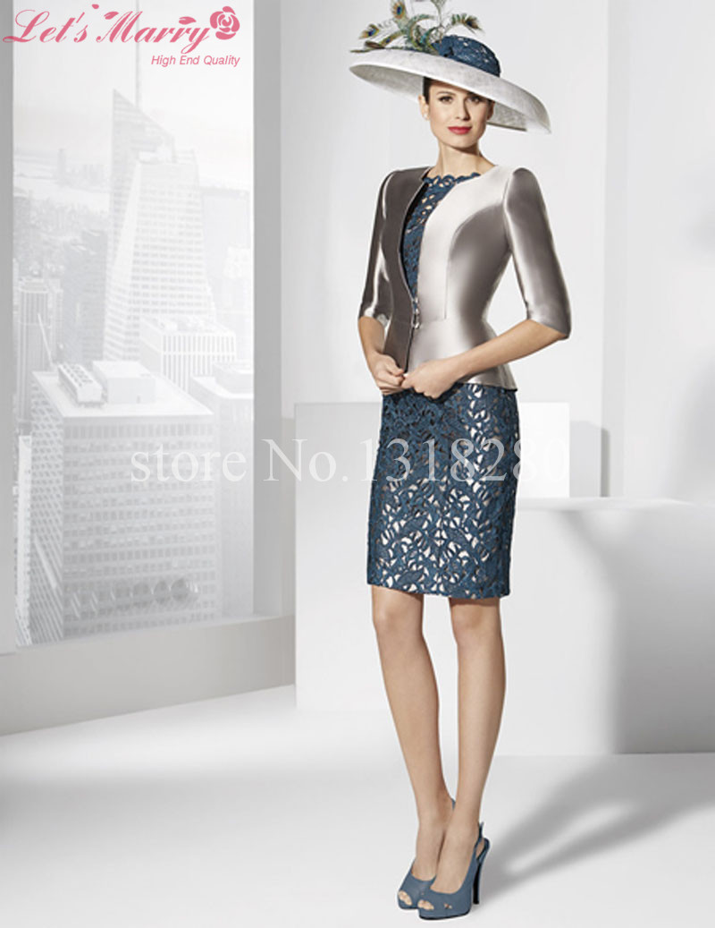 WDZ-192 Silver Navy Blue Mother Of The Bride Dresses With Jacket 3/4 Sleeves Pageant Evening Dress Custom Made Vestido De Festa(China (Mainland))