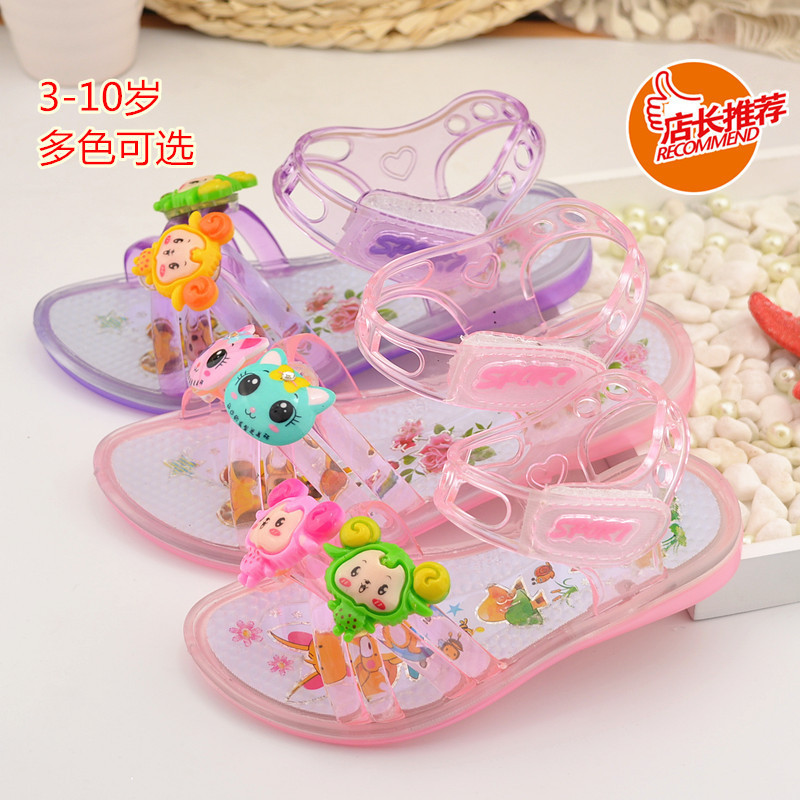 Plastic Injection girls lit glass slipper summer sandals soft bottom one waterproof Princess shoes explosion models(China (Mainland))