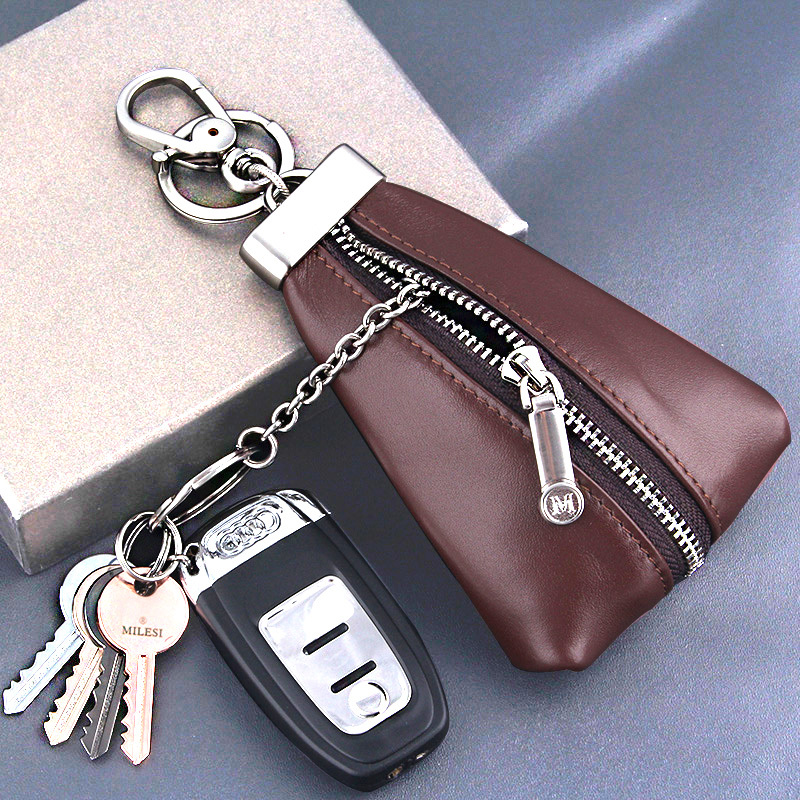 Milesi Genuine leather car key case holder car keychain for men key wallet Father Gift porte clef chaveiro carro(China (Mainland))
