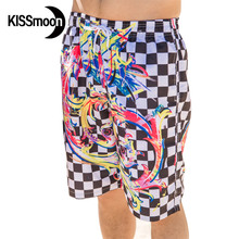 KISSmoon Quick-drying Black and white Chequered flag racin men shorts board -couple Short beach Couple Men board shorts KBS1119