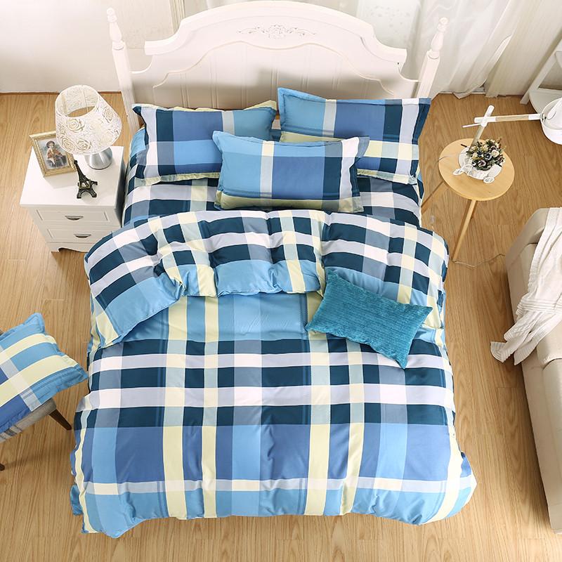 rejilla azul funda nrdica hoja de cama de la reina ropa de cama del lecho de la raya moderna ployester y algodn funda de