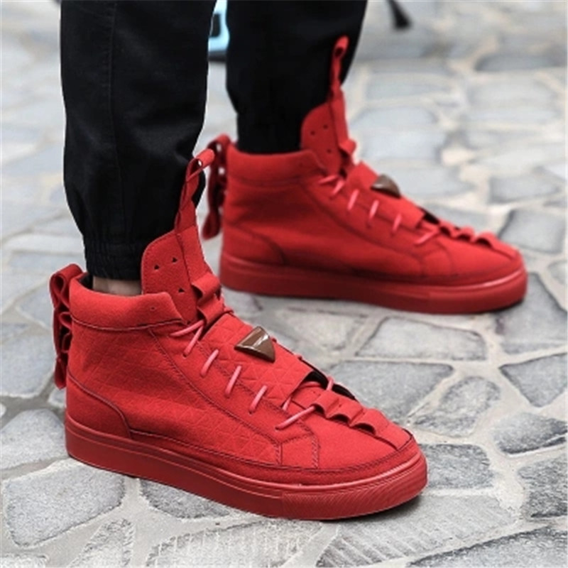 Men Women Casual shoes Patrick Mohr Flat Triangle Shoes Nubuck Red Black Breathable  -  Classic zapatillas Store store