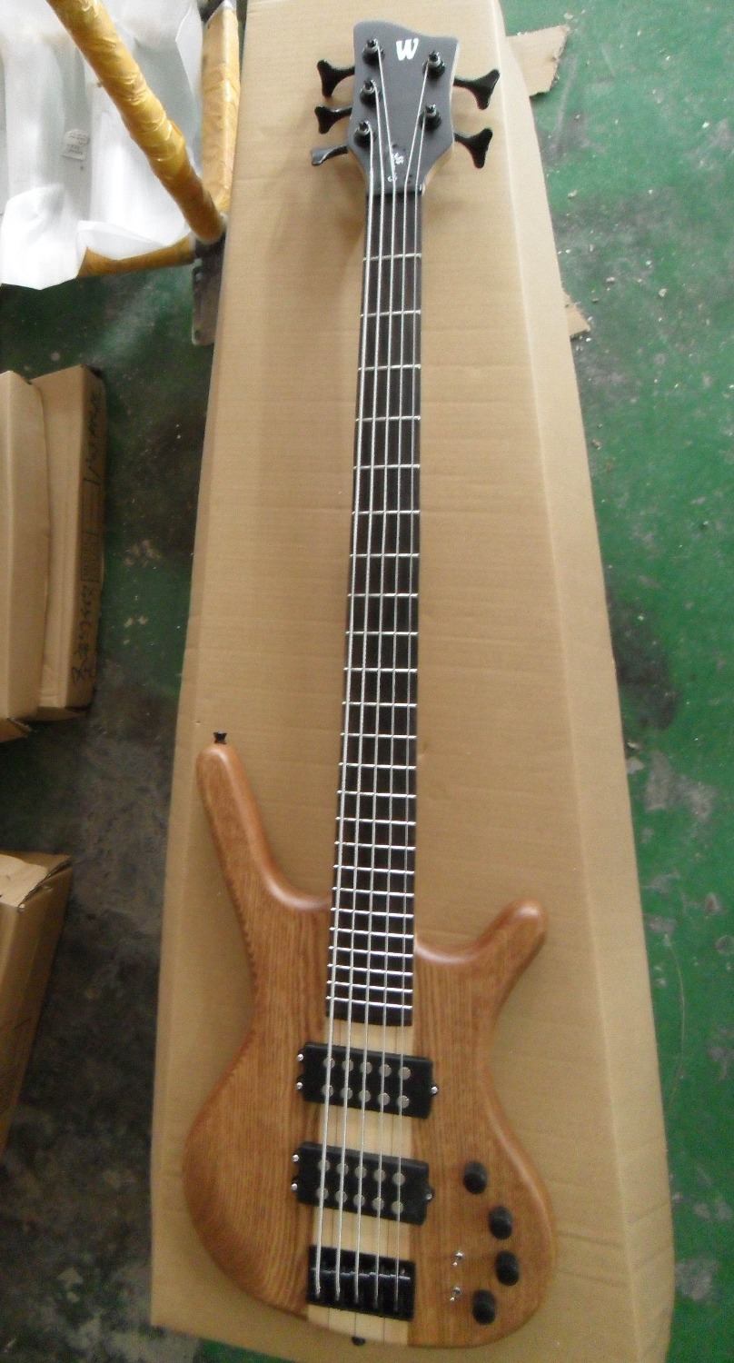 Free shipping New 5 string electric Bass guitar W model THROUGH BODY active in natural wooden 130601(China (Mainland))