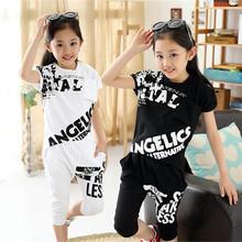 2016 Brand Summer Girls Sport Print Clothes Sets Cotton Mesh Fashion Short Sleeve+ Short Harem Pants Girls Summer Clothing Sets(China (Mainland))
