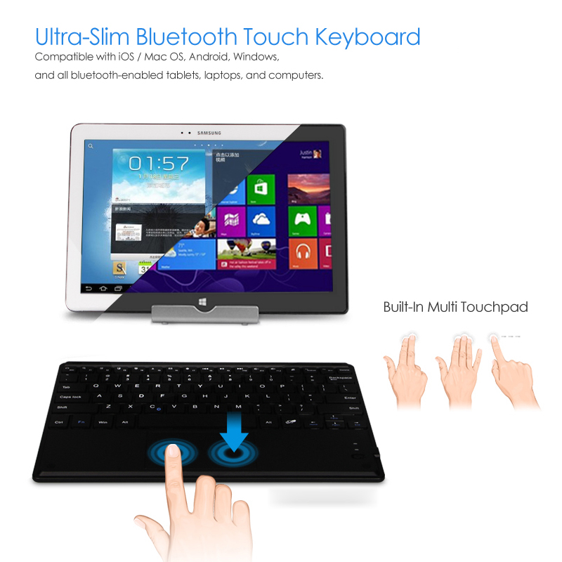 Fashion Universal 9-10 Inch Touchpad Mouse Ultra-thin Slim Wireless Bluetooth Keyboard for Tablet Android & IOS & Windows(China (Mainland))
