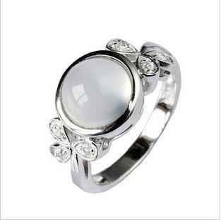 Crystal natural stone ring 925 silver moonlight(China (Mainland))
