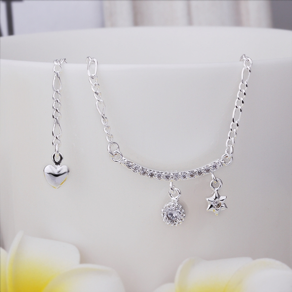Special Star Unique Inlaid Crystal Design Anklets Elegant Style Low Price 925 Sterling Silver Anklets For Women(China (Mainland))