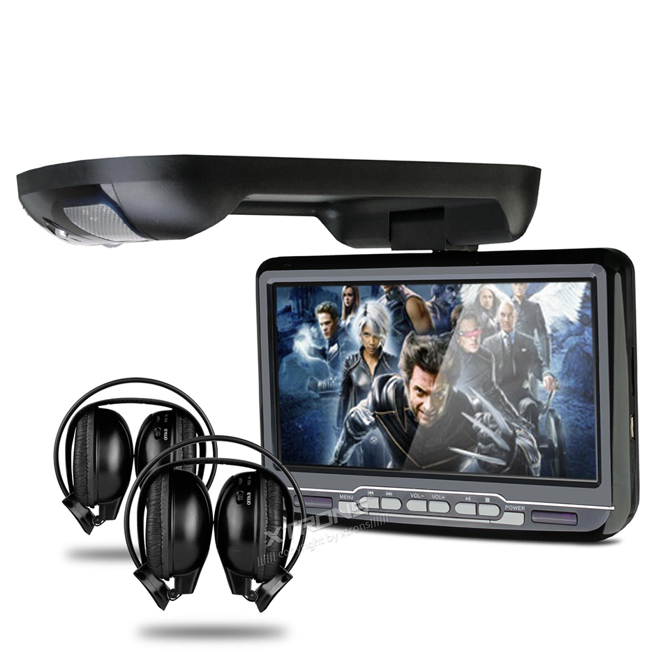 "9"" Car Roof Mounted DVD Player Flip Down Monitor With Game Function Overhead Radio Stereo Ceiling With 2 PCS Headphones For Free(China (Mainland))"