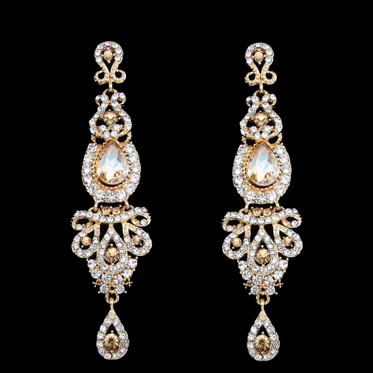 Big Long Gold Earring Gold Plated Wedding Earring for Brides Bridesmaids Big Large Earrings for Women brincos grandes ersh41(China (Mainland))