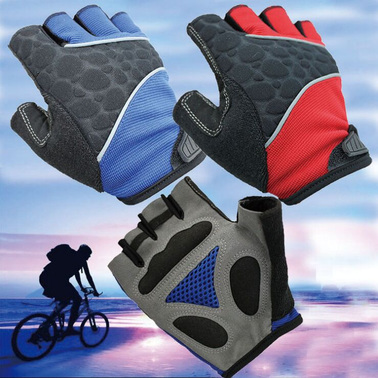 New Half Finger Cycling Gloves red blue black gray bicycles Sport gloves with Silicon pads Tour 2015 Ciclismo Breathable Guantes(China (Mainland))