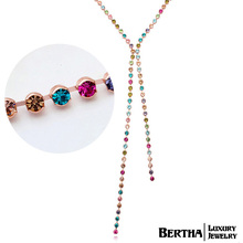 Luxury Colorful Beads Long Necklace Sweater Chain With Swarovski Elements Crystals For Women Choker Jewelry Bijoux Top Quality(China (Mainland))