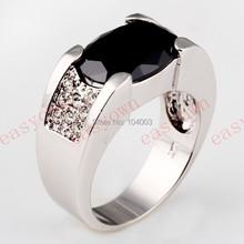 Black Sapphire White Gold Filled Ring Men s 10KT Finger Rings Anel Feminino Man 2015 Fashion
