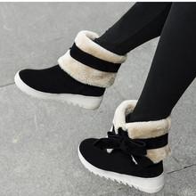 Tamaño grande 34-43 nueva moda zapatos de la piel caliente Skidproof punta redonda suela de plataforma medio rodilla botas botas de nieve del invierno para mujeres(China (Mainland))