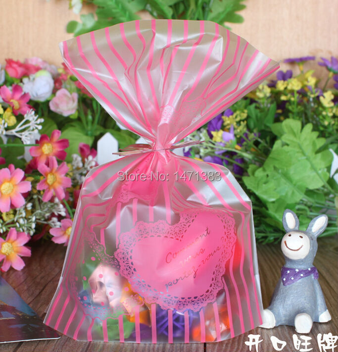 9*13 with 2cm Pink Gift Food Packing bag, Cute Small Biscuit Plastic Bag(China (Mainland))