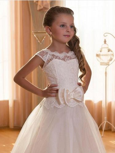 New Cap Sleeve Backless Ivory Lace Flower Girl Dresses For Weddings 2016 Bow Floor Length First