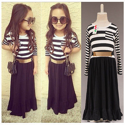 Kids Baby Girls Dress Summer Casual Long Maxi Dress Stripe Clothes W/Belt 2-8Y(China (Mainland))