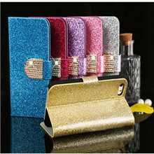 Fashion Women Girl Bling Diamond Glitter PU Leather Flip Phone Case Cover Sony Xperia E5 Stand Wallet - 3C-Phone Cases store