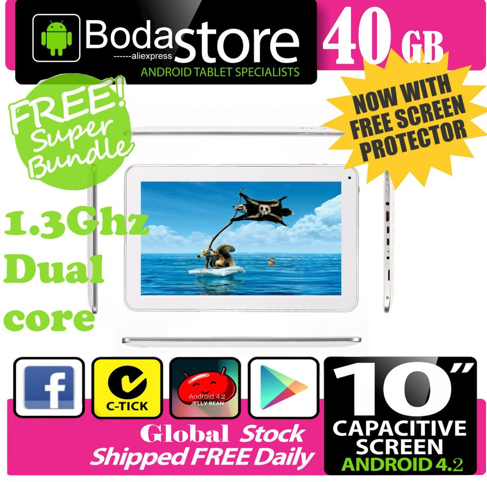 "10.2"" inch 40GB Boda GOOGLE ANDROID Jelly Bean 4.2 TABLET PC CAPACITIVE SCREEN E READER PAD TAB Bundle 32GB TF CARD(China (Mainland))"