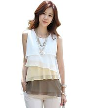 NEW 2016 Multi-Colors Blouse Shirts for Spring Summer Style Flounce Tiered Tops Round Neck Sleeveless Shirt PE3050*50(China (Mainland))