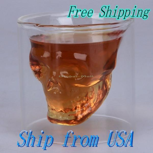 Ship From USA New Crystal Skull Head Vodka Whiskey Shot Glass Cup Drinking Ware for Home Bar Wholesale 13008218(China (Mainland))